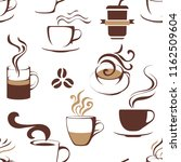 seamless pattern with coffee... | Shutterstock .eps vector #1162509604
