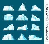 floating iceberg set. ice... | Shutterstock .eps vector #1162551571