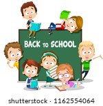 back to school poster with... | Shutterstock .eps vector #1162554064