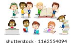 different ethnicity boys and... | Shutterstock .eps vector #1162554094