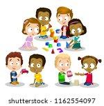 group of happy multiethnic... | Shutterstock .eps vector #1162554097