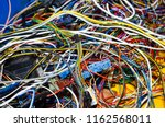 the bunch of electric wires or ... | Shutterstock . vector #1162568011