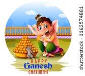 happy ganesh chaturthi festival ... | Shutterstock .eps vector #1162574881