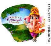 happy ganesh chaturthi festival ... | Shutterstock .eps vector #1162574911