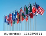 national flags of various... | Shutterstock . vector #1162590511
