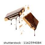 waffles broken into two halves... | Shutterstock . vector #1162594084