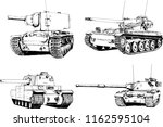 powerful tank with a gun drawn... | Shutterstock .eps vector #1162595104