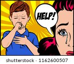 serious worried crying mother... | Shutterstock .eps vector #1162600507