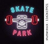 neon skate park sign on brick... | Shutterstock .eps vector #1162615921