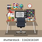 modern creative office or home... | Shutterstock .eps vector #1162616164