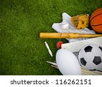 Sports Equipment On Grass ...