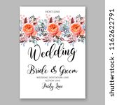 peach rose wedding invitation... | Shutterstock .eps vector #1162622791