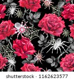 red roses  blak spiders  web.... | Shutterstock . vector #1162623577