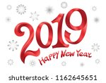 2019 happy new year. tape red... | Shutterstock .eps vector #1162645651