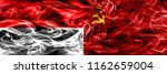 indonesia vs ussr smoke flags... | Shutterstock . vector #1162659004