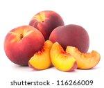 Ripe Peach  Fruit Isolated On...