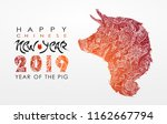 chinese new year 2019. zodiac... | Shutterstock .eps vector #1162667794