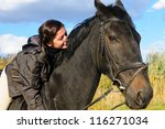 cute girl riding horse and look ... | Shutterstock . vector #116271034