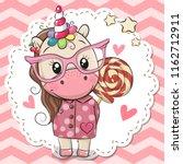 cute cartoon unicorn in pink... | Shutterstock .eps vector #1162712911