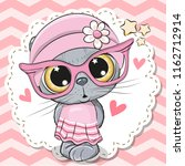 cute cartoon cat girl in pink... | Shutterstock .eps vector #1162712914