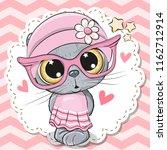 cute cartoon cat girl in pink... | Shutterstock .eps vector #1162712914