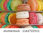 close up of color macaroons on... | Shutterstock . vector #1162722511