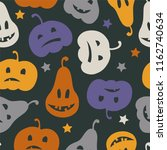 halloween seamless pattern with ... | Shutterstock .eps vector #1162740634