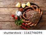 seafood background  raw edible... | Shutterstock . vector #1162746094