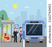 public autobus station with... | Shutterstock .eps vector #1162763401