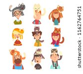 Stock vector people with funny cats sitting on their heads set adorable pets and its owners vector 1162764751