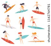surfer people riding surfboards ... | Shutterstock .eps vector #1162764781