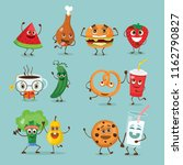 funny healthy and fast food... | Shutterstock .eps vector #1162790827