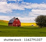 Red Barn And Canola Field In...