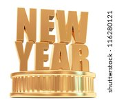 Golden New Year on a podium isolated on white background - stock photo