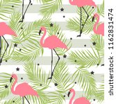 pink flamingos  stars and palm... | Shutterstock .eps vector #1162831474