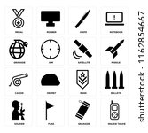 set of 16 icons such as walkie...