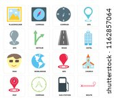 set of 16 icons such as route ...