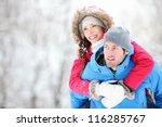 happy winter travel couple. man ... | Shutterstock . vector #116285767