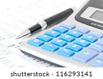 pen and calculator on chart  | Shutterstock . vector #116293141