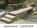 Wooden Bridge Over The Waterfall
