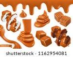 sweet caramel  set realistic 3d ... | Shutterstock .eps vector #1162954081