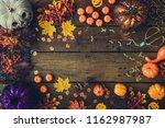 creative autumn halloween... | Shutterstock . vector #1162987987