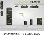 set signage.direction pole ... | Shutterstock .eps vector #1163001607