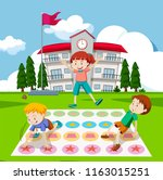 children playing twister game... | Shutterstock .eps vector #1163015251