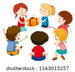 children play present game... | Shutterstock .eps vector #1163015257