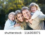 smiling family with children... | Shutterstock . vector #116303071