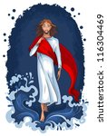 bible story of jesus walking on ... | Shutterstock .eps vector #116304469