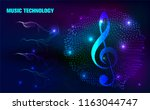 abstract music notes and staff... | Shutterstock .eps vector #1163044747