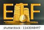 concept of bitcoin  etf ... | Shutterstock . vector #1163048497