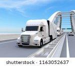 a fleet of white self driving... | Shutterstock . vector #1163052637
